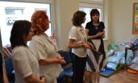 uczestnicy uroczystości przekazania poduszek - Karina Bieńkowska, Beata Sobieszczyk,Mirosława Ziółkowska, Izabela Maciejewska
