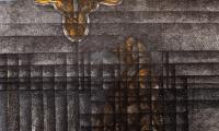 Ireneusz Boguszewski, Pejzaż linearny - palotyński artefakt I, rysunek tuszem, akryl na papierze, 70 x 100, 2016; fot. z materiałów promocyjnych wystawy