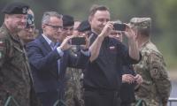 Prezydent Andrzej Duda podczas manewrów wojskowych NATO Anakonda-16 w Chełmnie, fot. Daniel Pach