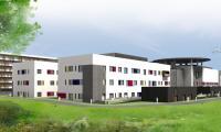 Po zakończeniu modernizacji toruński WSZ będzie miał prawie tysiąc miejsc hospitalizacyjnych, w tym blisko dwieście psychiatrycznych i czterdzieści w segmencie zakaźnym; grafika pracowni projektowej 4105.eu